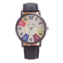 Harajuku Graffiti Pattern Leather Band Analog Quartz Vogue Wrist Watches BK