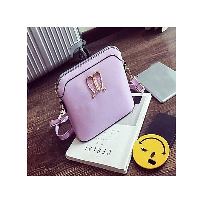 bluerdream-Women Girl Rabbit Ears Sweet Cameo Shell Handbag Shoulder  Messenger Bag PP-Purple fe42a4ce27e0d