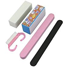 Manicure Tools Kit Rectangular Nail Files Brush Accessories Nail Art Set 5Pcs