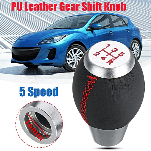 Universal Gear Shift Knob Front 5 Speed PU Leather Gear Shift Knob For  Mazda 3 5 6 RX8 Sport Auto Replacement M10x1 25