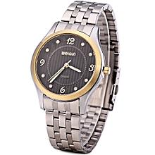W00117 Men Steel Rhinestone Quartz Watch with Luminous Pointers-BLACK