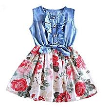 7c937f0b134b Baby Toddler Kids Girls Summer Denim Vest Top Tulle Party Skirt Flower Maxi  Dress 12-