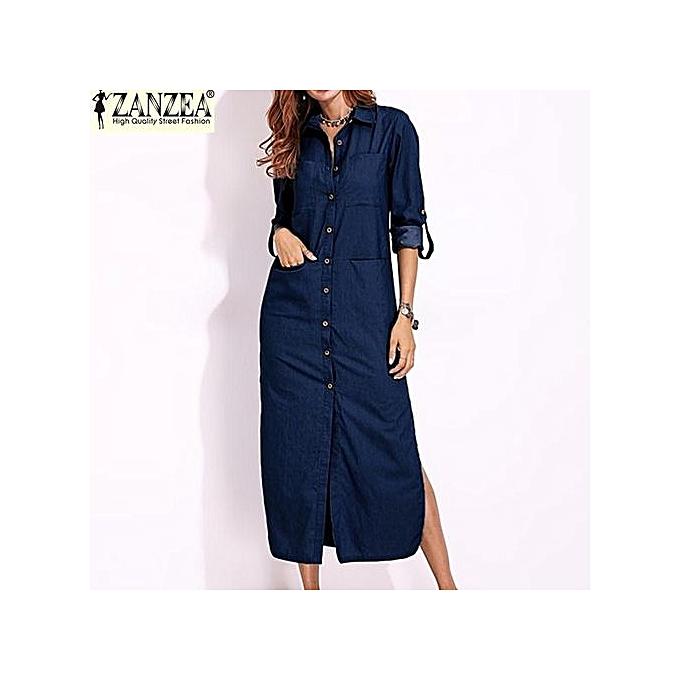 705393a9a3287 ZANZEA Women Long Sleeve Buttons Down Shirt Dress Denim Blue Split  Asymmetrical Long Dress Plus Size