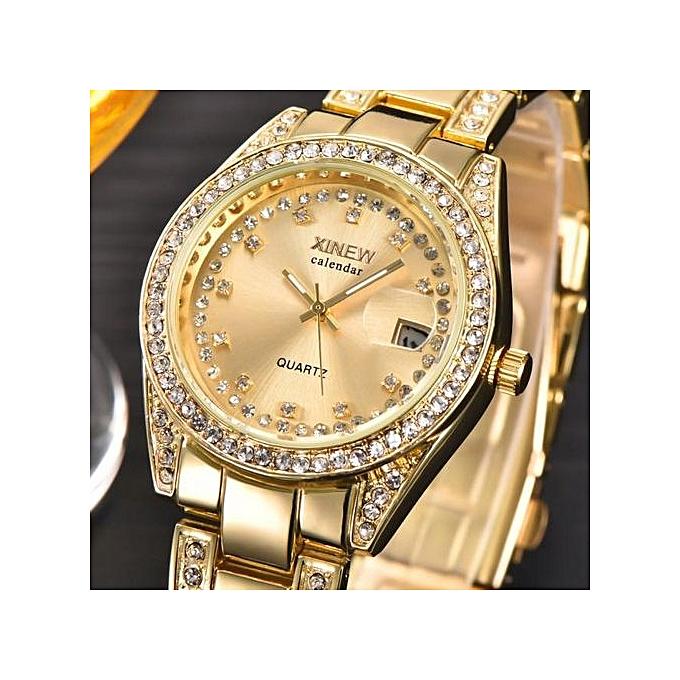 3db79f792d3a Zetenis Fashion XINEW Ladies Women Girl Unisex Stainless Steel Date Quartz  Wrist Watch -Golden