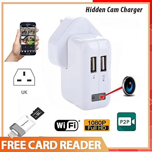 Generic SPY Camera HD 1080P Wifi IPCamera USB Power Adapter Hidden Lens Wireless Charger Gift Card Reader Real Wall AC 3-Pin Plug Charger DVR By HT