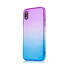 Dual-Color Gradient Shockproof Soft Phone Case Cover for iPhone X 7 8 Plus 6S-Purple + Blue