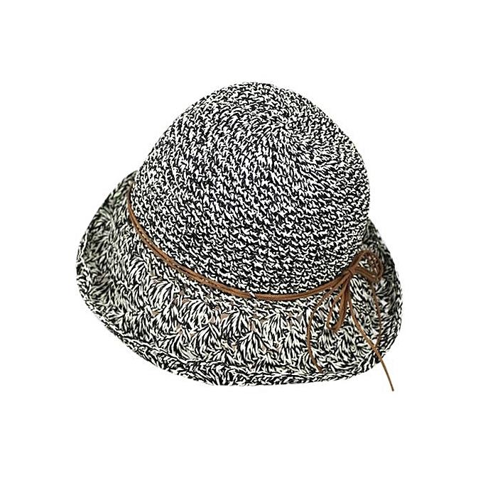 0fbad6d79e7 Women Foldable Large Brim Crochet Summer Knit West Cowboy Sun Hat UV Beach