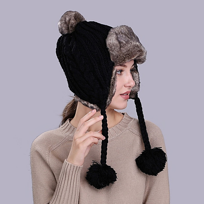 singedanWarm Women Winter Hat with Ear Flaps Snow Ski Thick Knit Wool Beanie  Cap Hat - 5334f49f00c