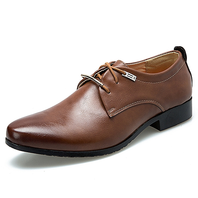 British Style Office Formal Shoes Genuine Leather Business Derby Brown