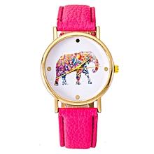 Women National Wind Elephant Casual Leather Strap Quartz Wrist Watch -Hot Pink