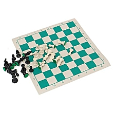 Plastic Gambit Chess Set, Roll-up Artificial Leather Mat And Bag Camping Travel