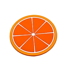 Fruit Coaster Colorful Silicone Cup Drinks Holder Mat Tableware Placemat-Orange