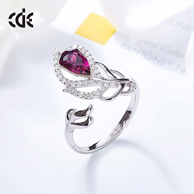 43c8e0171 The west Dai Er feather 925 silver ring the personality adopt the Swarovski  chemical element crystal