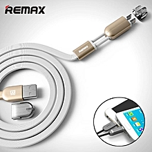2 in 1 Micro USB Cable Remax 1M Charging Mobile Phone Cables For iPhone 5 5S 6 ipad Charger ios Data For Samsung Galaxy Android DIOKKC