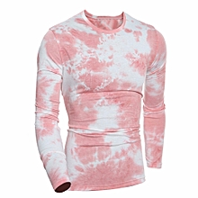 Men's Autumn Winter Long Sleeve Printed Letters Tops Blouse RD/L- Red