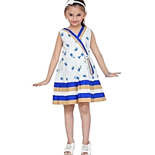 Sleeveless Blue cotton dress with floral pattern