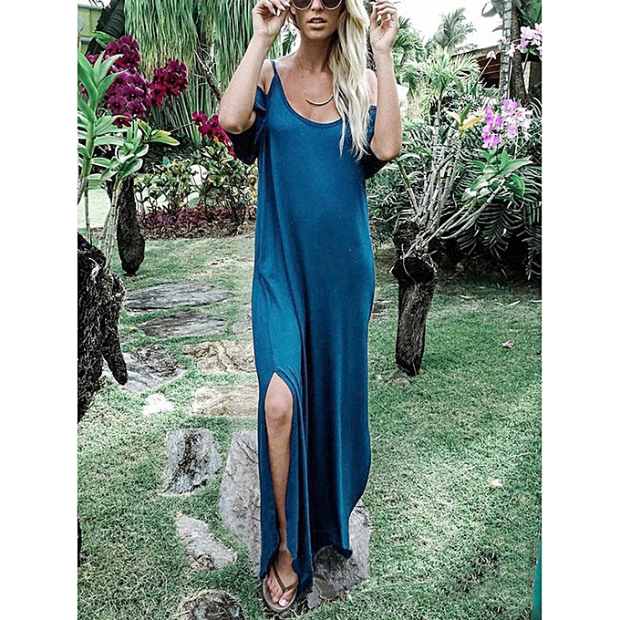 2c36399c2a Women Cold Shoulder Long Dress Spaghetti Straps Slit Sides Boho Solid Loose Maxi  Dress