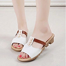e24333dea9f Jiahsyc Store Summer Cut Out Pearl Sandals Fashion Solid Beach Slides Slippers  Women Shoes-White