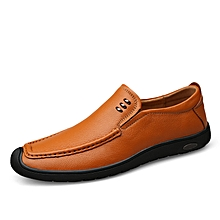 Mens Dress Formal Genuine Leather Loafers Casual Shoes Brown