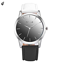 Candy Color Leather Quartz Wristwatch For Students #4 - White & Black