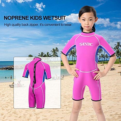 3b64b67b63f9d Generic Neoprene Kids Wetsuit One Piece Diving Suit Warm Swimwear Children  Swimsuit(Pink