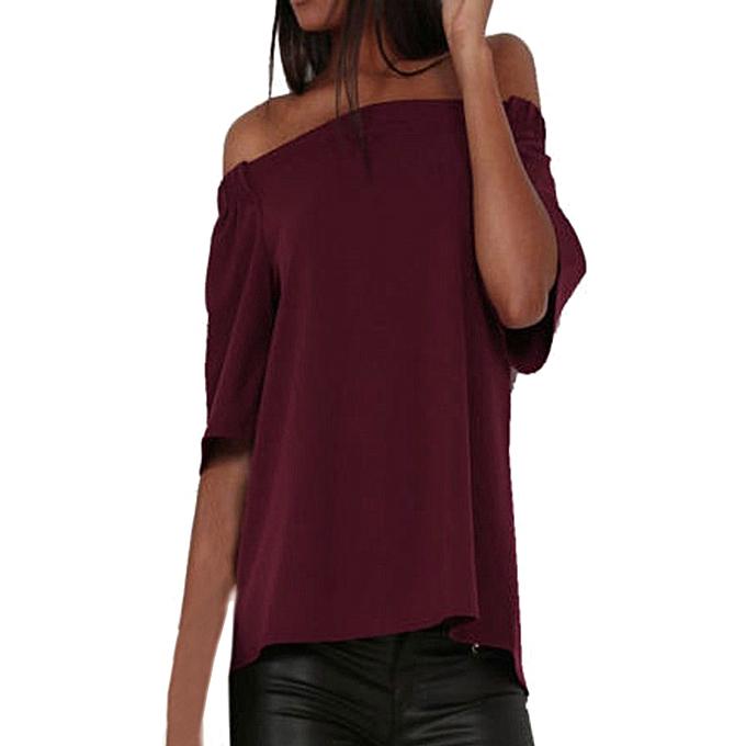 c656157b1a0f Hiaojbk Store Women Irregular Off The Shoulder Casual Short Sleeve T-Shirt  Tops Split Blouse ...