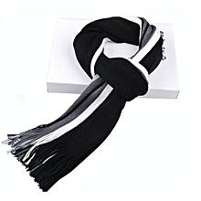 Mens Cashmere Long Fringe Striped Tassel Scarf - Black