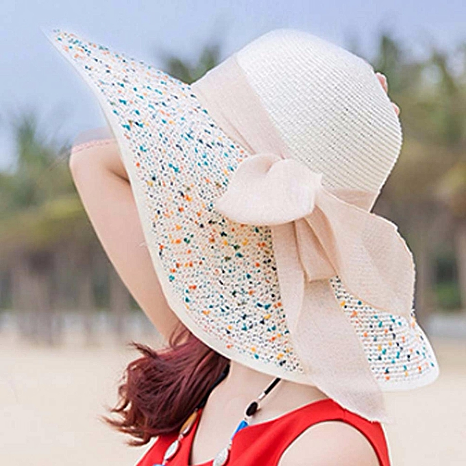 feeb919f Elegant Fashion Seaside Sun Visor Hat Female Summer Sun Hats For Women  Large Brim Straw Sun ...