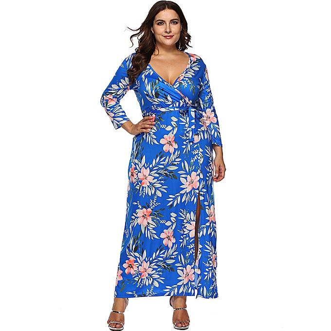 a0318cb4a8 Women Plus Size Long Dress Floral Print 3/4 Sleeves Slit High Waist Maxi  Dress