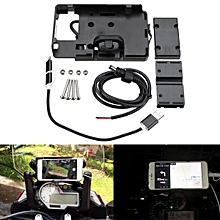 Mobile Phone GPS Navigation Bracket Holder USB Charging For BMW S1000R R1200GS Black