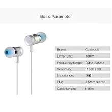 KDK-203 High Quality Wired Stereo In-ea Metal Earphone with Noise Cancelling(Silver)