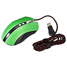 LUOM G60 Wired Nine Buttons Gaming Mouse Game Peripherals with LED for PC Laptop Computer GREEN