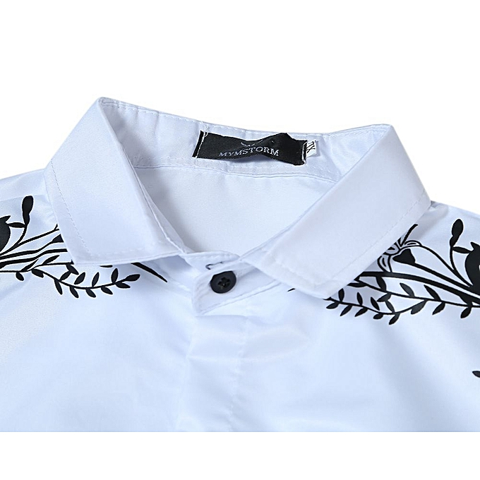 f8c5bffe3 ... Mens Hipster Casual Slim Fit Long Sleeve Button Down Dress Shirts Tops  with Embroidery-white