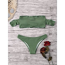 Ruffles Ribbed Off The Shoulder Bikini - ARMY GREEN