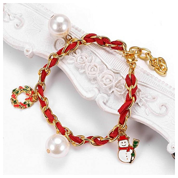 Christmas Fashion Pearl Bracelet Woven Wound