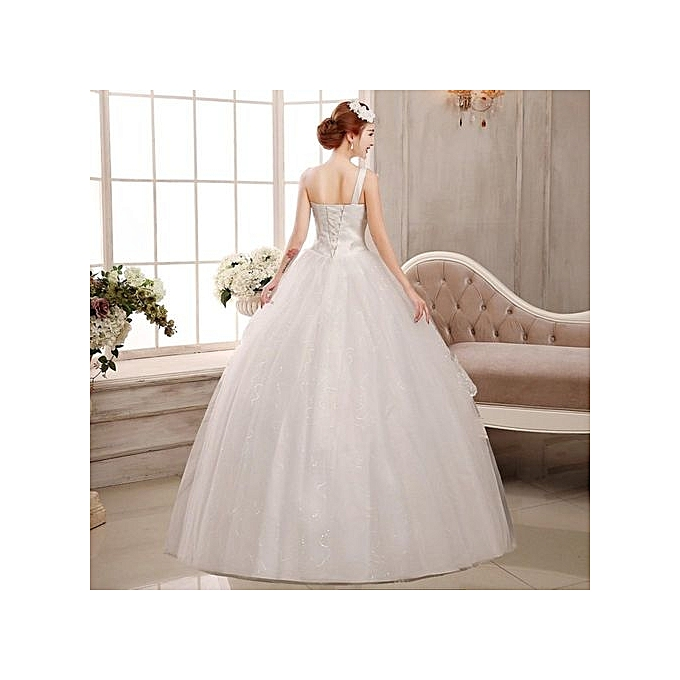 Buy Fashion Luxury Long Tail Wedding Dress Lace Wedding Gown Crystal ...