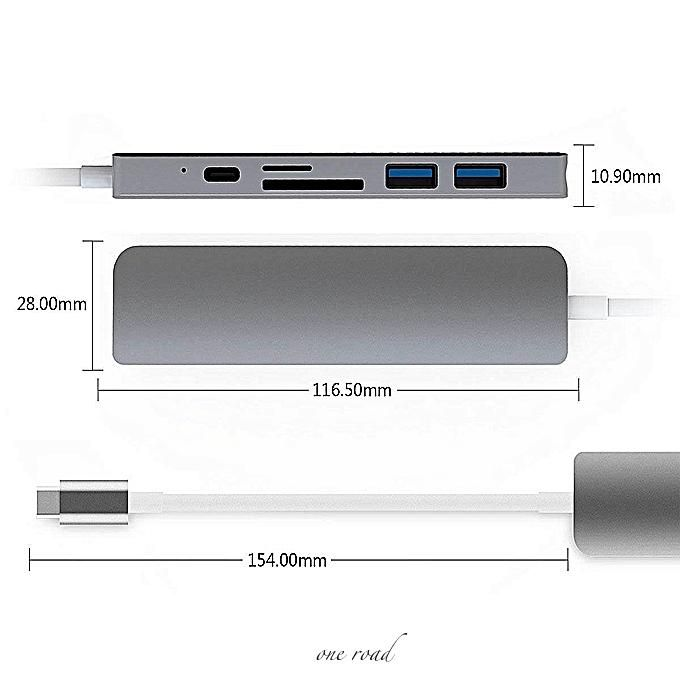 6-In-1 Usb C Hub Hdmi Adapter 4K Video With C-Type Power Transmission Sd/Tf  Card Reader Usb 3 0 Hub For Macbook Pro