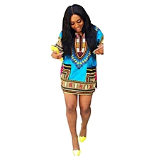 Fohting  Women African Print Dress Casual Straight Print Above Knee Mini Dresses L - Blue