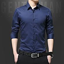 Luxury Cotton Slim Fit Office Formal Shirts Men Business Wedding Shirts (Royal Blue)