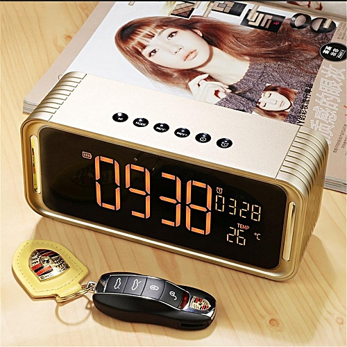 Led Digital Alarm Clock With Bluetooth Speaker Temperature Time Calendar Display Electronic Hifi Home Office