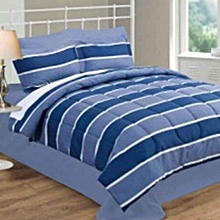 4 Piece Comforter Set - Queen Size –  Navy Stripe
