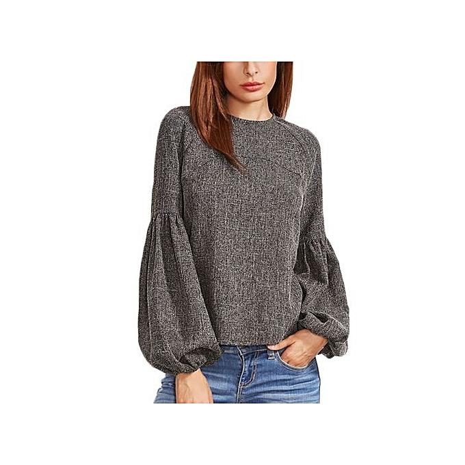 Buy Fashion New Fashion Women Shirt Ladies Tops Grey Keyhole Back