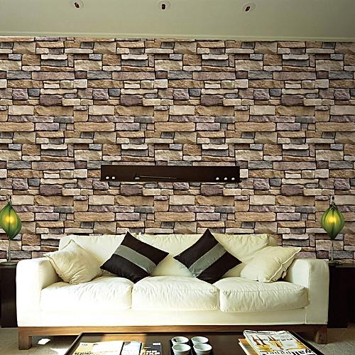 generic 3d wall paper brick stone rustic effect self-adhesive wall