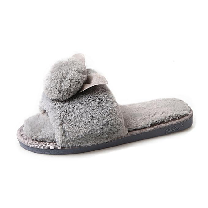 52e7fb569e18 Womens Ladies Slip On Sliders Fluffy Faux Fur Flat Slipper Flip Flop Sandal -Gray-