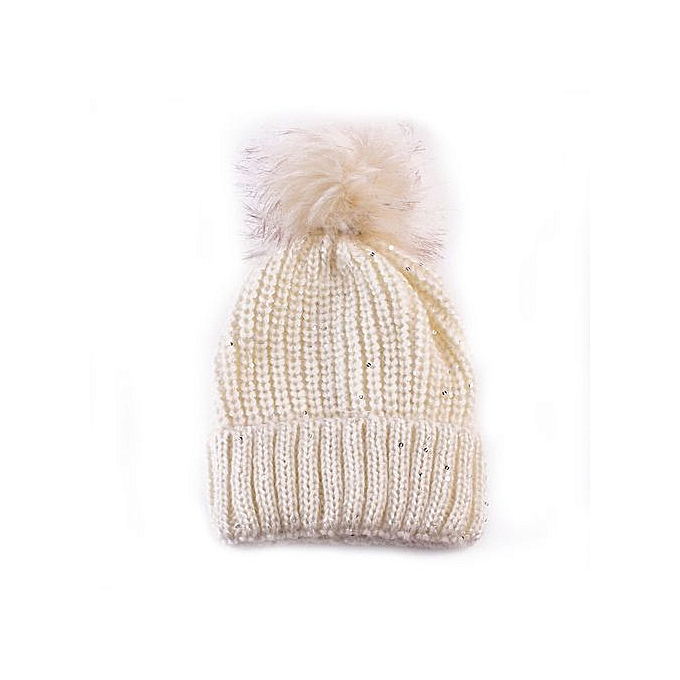 2ed40649930 Zetenis Women Fashion Keep Warm Winter Hats Knitted Wool Hemming Hat -Beige  ...