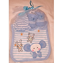Cute Cotton Baby Feeder, Booties And Mitten Set - Blue