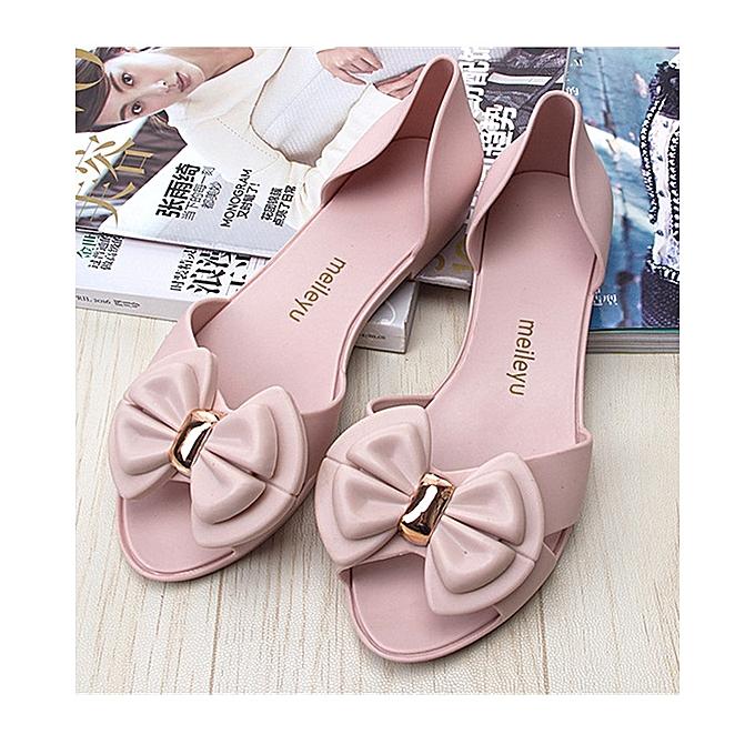 82114ba55881 Women s Fancy Jelly Bow Tie Sandals Summer Beach Flat Jellies Water Sandals  Shoes