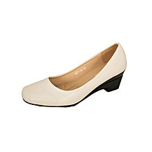 Apricot Women's Smooth Edged Square Toe Wedge Heel