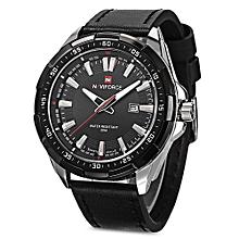 NAVIFORCE 9056 Male Quartz Watch Leather Strap 3ATM Water Resistant Luminous_BLACK SILVER
