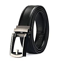 Men's Belt Leather Ratchet Belt With Click Buckle Pure Color Color:Clip Black